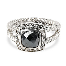 David Yurman Petite Albion Hematite & Diamond Ring in Sterling Silver 0.20 ctw