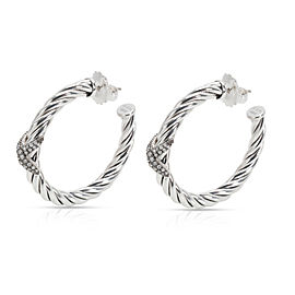 David Yurman Cable Diamond X Hoop Earring in Sterling Silver 0.33 CTW