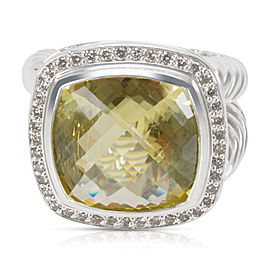 David Yurma7.0n Albion Ring with Prasiolite and Diamonds 14mm 0.45 ctw
