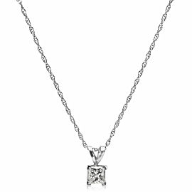 Princess Cut Diamond Pendant in 14k White Gold with Chain (0.55 CTW)