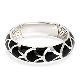 John Hardy Legends Naga Black Enamel Band in Sterling Silver