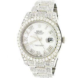 Rolex Datejust II 41mm Steel Watch 10.30CT Diamond 116300 Box Papers