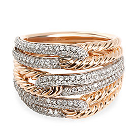 David Yurman Labyrinth Diamond Ring in 18K 2 Tone Gold 0.87 CTW
