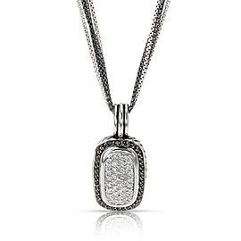 David Yurman Oblong Albion Black & White Diamond Necklace in Silver 1.10 CTW