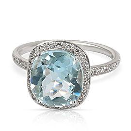 Diamond Halo Blue Topaz December Gemstone Ring in 18K White Gold 0.32 CTW