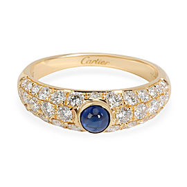 Cartier Cabochon Sapphire & Pave Diamond Ring in 18K Yellow Gold 1.22 ctw