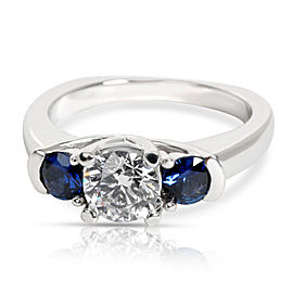 Three Stone Diamond & Sapphire Ring in 14K White Gold G-H SI2 0.8 CTW