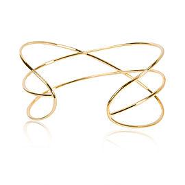 SHY Creations 3 Row Diamond Cuff Bangle 14K Yellow Gold 0.60 CTW