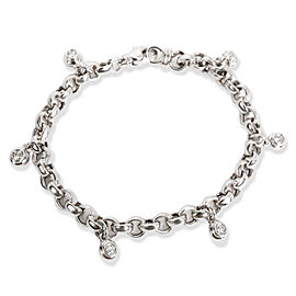 Scott K Link Bezel Diamond Charm Bracelet in Platinum 0.5 CTW