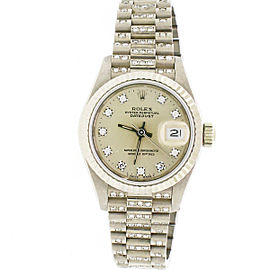 Rolex Datejust Factory Diamond Dial 18K White Gold 26mm President Watch 69179