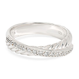 David Yurman Cable Crossover Diamond Band in Sterling Silver 0.10 CTW