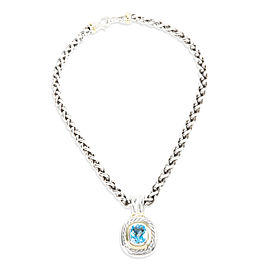 David Yurman Blue Topaz Cable Necklace in Yellow Gold & Sterling Silver