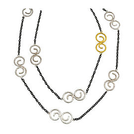 Gurhan Tri Tonal Long Necklace In Sterling Silver MSRP 1,525