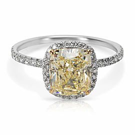 GIA Certified Fancy Light Yellow Cushion Cut Diamond Engagement Ring (2.48 CTW)