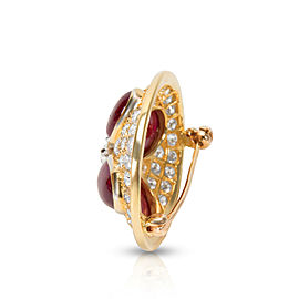 Estate Ruby & Diamond Pin 18KT Yellow Gold 8.44 ctw