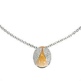 BRAND NEW Zydo Diamond Ladybug Necklace with Orange Enamel in 18K WG (1.02 CTW)