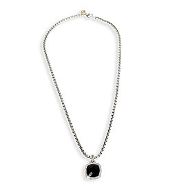 David Yurman Onyx & Diamond Halo Cable Necklace in Sterling Silver 0.32 CTW