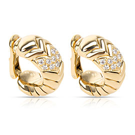 Bulgari Spiga Curved Diamond Hoop Earrings in 18KT Yellow Gold 0.75 CTW
