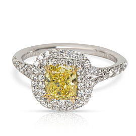 Tiffany & Co. Fancy Yellow Double Halo Diamond Engagement Ring in Platinum