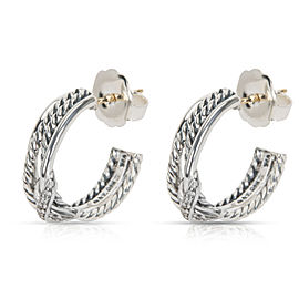 David Yurman Diamond Cable X Hoop Earrings in 18K Yellow Gold & Sterling Silver
