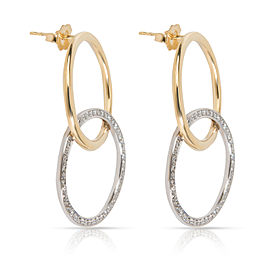 Diamond Interlocking Circle Earrings in 18KT Two Toned Gold (0.90 CTW)