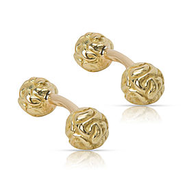 David Webb Hammered Gold Peony Cufflinks in 18K Yellow Gold