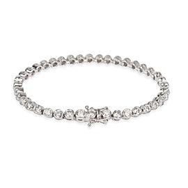Bezel Set Diamond Tennis Bracelet in 18K White Gold G-H SI1-SI2 4.00 CTW