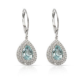 Tiffany & Co. Soleste Aquamarine Diamond Earrings in Platinum 3.58 CTW