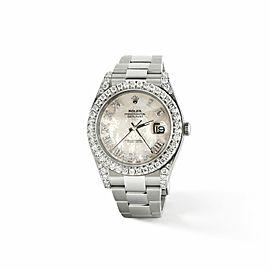 Rolex Datejust II Steel 41mm Watch 4.5CT Diamond Bezel/Lugs/White MOP Roman Dial
