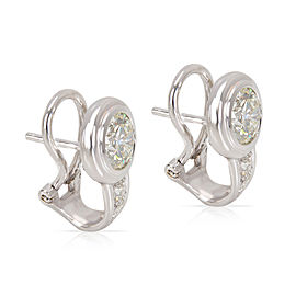 IGI Certified Bezel Diamond Earrings in 18KT White Gold 2.53 ctw