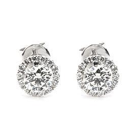 Round Cut Diamond Halo Stud Earrings in 14K White Gold (0.70 CTW)