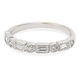 Milgrain Baguette & Round Diamond Wedding Band in 14K White Gold (0.50 CTW)
