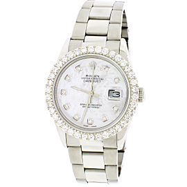 Rolex Datejust Steel 36mm Oyster Watch 2.70ct Diamond Bezel/White MOP Dial