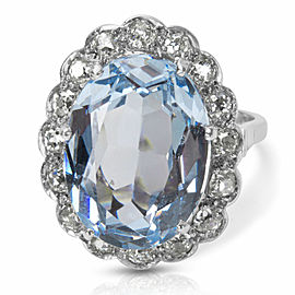 Aquamarine and Old Cut Diamond Ring in 14K White Gold (1.50 CTW)
