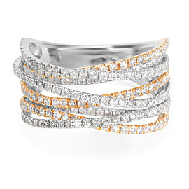 Diamond Criss-Cross Strands Ring in 14k Two-Tone Gold (1.76 CTW)