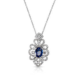 Open Lace Diamond & Oval Sapphire Pendant in 18k White Gold (1.37 CTW)