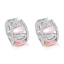 Mother of Pearl & Diamond Earrings in 18K White Gold (1.00 CTW)