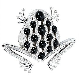 BRAND NEW Zydo Diamond & Black Onyx Frog Brooch in 18K White Gold (2.97 CTW)