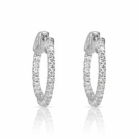 Diamond In & Out Hoop Earrings in 14k White Gold