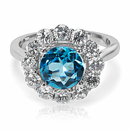 Blue Topaz & Diamond Engagement Ring in 14k White Gold (1.23 CTW)