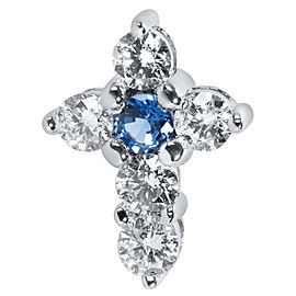 Sapphire & Diamond Cross Pendant in 14K White Gold (1.00 CTW)
