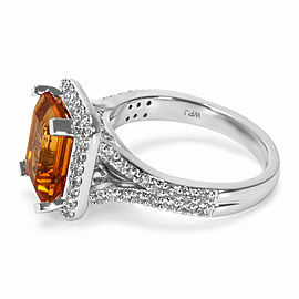Citrine Radiant Ring in 14K White Gold with Diamonds (0.75 CTW)