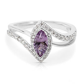 Amethyst Marquise Ring in 14K White Gold with Diamonds (0.48 CTW)