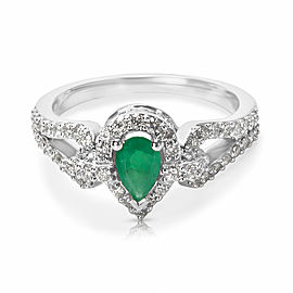 Emerald and Diamond Pear Ring in 14K White Gold (0.50 CTW)