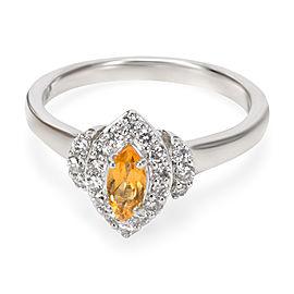 Diamond Halo Citrine Ring in 14K White Gold 0.77ctw