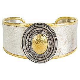 Gurhan Cavalier Cuff Bracelet in Sterling Silver & 24k White Gold MSRP 4,450