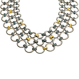 Gurhan Hoopla Multi Strand Necklace Sterling Silver & 24K Yellow Gold MSRP 7325