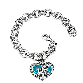 Di Modolo Charm Bracelet with Blue Topaz in Plated Rhodium MSRP 495