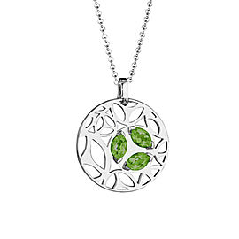 Di Modolo Green Quartz Ricamo Pendant in Plated Rhodium MSRP 650