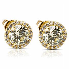 BRAND NEW Diamond Halo Studs in 18k Yellow Gold (2.27 CTW)